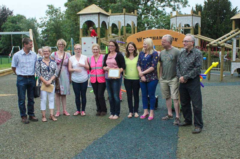 Friends of Wrotham Charity Members opening play equipment in Wrotham rec